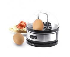 Arendo Edelstahl Eierkocher mit Warmhaltefunktion Sevencook | Egg cooker | Kipp-Funktionsschalter mit Indikationsleuchte | einstellbarer Härtegrad | akustischer Signalton | 400 W | Abschrecken von 1-7 Eiern | einfache Reinigung