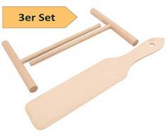 Zwei Crepes Verteiler und ein Crepes-Wender aus natürlichem Buchenholz im SET Das Werkzeug für Crêpes Pfannkuchen Pancake Palatschinken sofort einsatzbereit