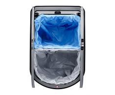 Rotho Duo Paso Mülleimer zur Mülltrennung mit Deckel, Kunststoff (PP), silber metallic, 50 L / 2 x 25 Liter (44 x 29 x 67 cm)