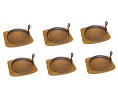 Servierpfanne rund Gusseisen mit Holzuntersetzer - 6 Stück