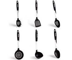 Paulis Kitchen 6 teiliges Kochbesteck Küchenhelfer Set Silikon schwarz und Edelstahl Pfannenwender Suppenkelle Küchenzubehör