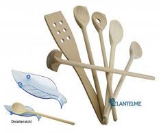 Lantelme 7 tlg Koch/Back / Besteck Küchenhelfer Set mit Kochlöffelablage Kunststoff und 4 vers. Kochlöffel, Pfannenwender und Quirl