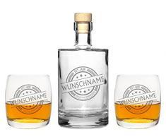 4 Edle Whiskeygläser mit Whiskeykaraffe und Gravur Name Whisky-Set graviert