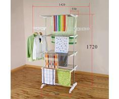 HS-Lighting Mobiler Wäscheständer Standtrockner Edelstahl Wäschetrockner-Turm Kleiderstange klappbar Kleiderständer Seitenflügel auf 4 Ebenen (4 Ebenen)