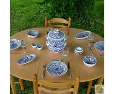 YODECO Service Couscous-Topf Suppenteller Bakir blau – 6 Pers