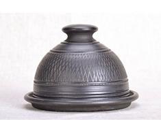 Runde Butterdose aus schwarz geräucherter Keramik