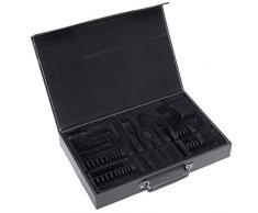 GRÄWE Besteckkoffer, leer - unbestückter Kunstleder-Koffer mit Einlagen für 30-teiliges Besteck, schwarz