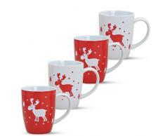 matches21 Weihnachtstassen Tassen Becher Rentier rot weiß 4-tlg. Set je 11cm / 400ml Porzellan Glühweintassen Kaffeebecher Weihnachtsmotive Weihnachtsdekor, Geschenkoption verfügbar:Tassen-Set ohne Geschenkoption