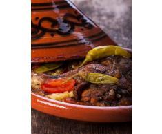 Marokkanische Tajine Topf zum Kochen | Schmortopf glasiert Gulnar Ø30cm 4-5 Personen | inklusive Rezept und Gebrauchsanweisung | ORIGINAL Tontopf handgetöpfert aus Marokko | Größe wählen