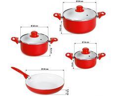 TecTake® 8 teiliges Keramik Kochtopf Set mit Glasdeckel rot