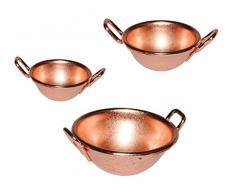 3 tlg. Set Schüsseln / Wok - Miniatur - Maßstab 1:12 - Topf Tiegel Pfanne aus Guß - für Puppenstube / Puppenhaus - Kochtöpfe Puppenküche Töpfe - Blech - Kupfer - Kupfertopf