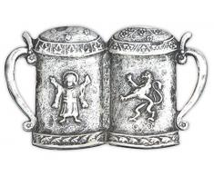 Herren Gürtelschnalle Biertrinker silber - zwei Bierkrüge Maß Verzierungen - Geschenk Idee Tracht Trachtler Geburtstag