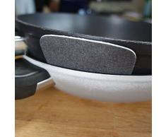 Pfannenschutz 38 cm - 5er Set Pfannenschoner | Stapel Schutz für Glasdeckel - Schützt Ihre Pfanne und Schüssel vor Kratzern