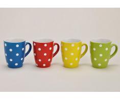 Tasse,Becher, Porzellan, gepunktet, Farbe gelb,blau,grün,1812-24447