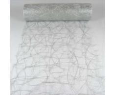1m Sizoweb® Original Tischband Tischläufer Tischdeko Faserseide 30cm / 300mm, Farbe:silber