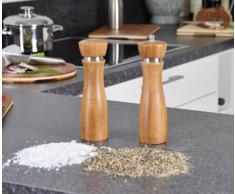 Kesper 13640 Pfeffermühle und Salzstreuer Set, Bambus 21.5 cm Höhe