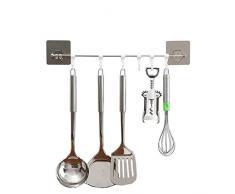 Küchenreling Küchenutensilien Hängeleiste Küchenhelfer Geschirr mit 6 Haken Pfannehalter für Küchen Ohne Bohren