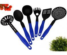 Küchenbesteck - Küchenhelfer Set 6 tlg. Küchenutensilien - Kochzubehör Kunststoff hitzebeständig in schwarz - blau
