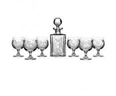 Crystaljulia 3837 Cognacsatz Jägermotiv Crystalite 1x Karaffe 6X Cognacglas