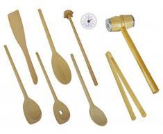 Küchen / Koch / Grill Besteck Holz Set 9 tlg. Mit Fleischklopfer , Grillzange , Kochlöffel , Quirl , Pfannenwender und Kunststoff Thermometer Analog