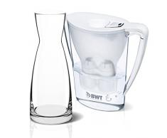 BWT 815086 Penguin Tischwasserfilter 2,7l weiß und Magnesium Mineralizer für 120l gefiltertes Leitungswasser mit Glaskaraffe
