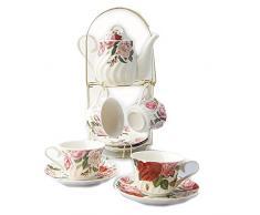 9 Stück Weiß Englisch Keramik Tee Set Mit Metall Ständer, Rose Druck Und Wasser Kräuselung Vintage Teeservice Service Kaffee Set, Für Geschenk Und Haushalt
