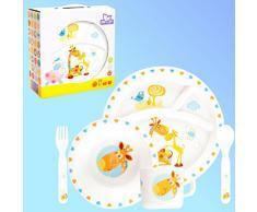 Baby Kinder Geschirr SET(5 Teile: 2 Teller Tasse Besteck) MIKROWELLEN- & SPÜLMASCHINENGEEIGNET (GIRAFFE)