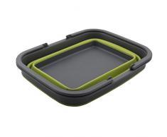 Siehe Beschreibung TPE-Falteimer mit Henkel rechteckig 9 Liter vielseitig einsetzbar - Wasser Eimer Faltbarer Einkaufskorb Falt Box Klapp Korb Transport