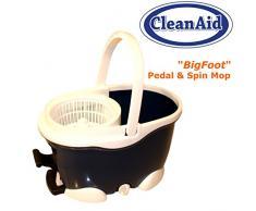 CleanAid® BigFoot Wischmop Microfaser Wischsystem extra langer Stiel mit 2 Mikrofaser-Bezügen Teleskopstiel, Pedal, Rotationseimer mit Powerschleuder