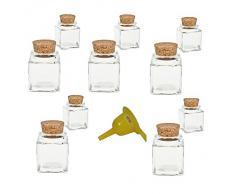 Viva Haushaltswaren - 10 x Mini Gewürzglas eckig 50 ml, Glasdose mit Korkverschluss als Gewürzdose & Vorratsdosen für Gewürze, Salz etc. verwendbar (inkl. Trichter gelb)