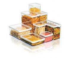 Rotho 1160790000 Vorratsdose Premium Loft - Aromadichte Aufbewahrungsbox - BPA-freie Frischhaltedosen, Inhalt 2.1 L - Form Rechteckig, Kunststoff, transparent mit weißer Dichtung, 20 x 10 x 14.2 cm