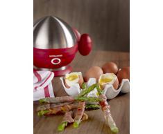 Andrew James – Elektrischer Eierkocher in Rot – Für bis zu 7 Eier – Mit Pochier- und Dämpferzubehör – 2 Jahre Garantie