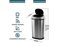 Homra Abfalleimer mit Sensor, 50 L / 42L, Hochwertiger Edelstahl, Automatische Mülleimer mit Bewegungssensor (50 L)