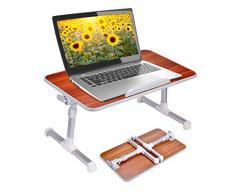 Neetto Tragbarer Betttablett, Höhenverstellbar Laptop Betttisch Tablett Bett Fruehstueck Notebook Tisch Stehpult, Klappbar Laptoptisch Fuer Sofa[2 Jahre Garantie]