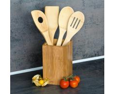 Relaxdays Küchenhelfer Set Bambus 5-teilig je 30 cm lang als Kochlöffel Set aus Holzlöffel Rührkelle Lochkelle und Pfannenwender mit Halter bzw. Ständer für Kochbesteck als Küchenutensilien, natur