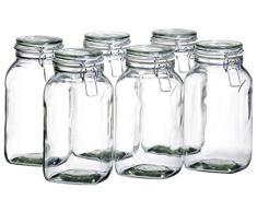 Mäser, Serie Gothika, Einmachglas 2.5 Liter, Vorratsgläser mit Bügelverschluss, im 6er-Set