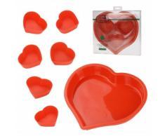7-tlg. SET Herzbackform aus Silikon - HERZ Backform - Silikonbackform - Kuchenform - Muffinform - Muffin Förmchen