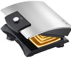 Exido 12240004 Design Sandwich-Toaster / Sandwich-Maker aus robustem Edelstahl - Silber / Schwarz - Ideal zur Zubereitung von kleinen schnellen Snacks (Edelstahl gebürstet)
