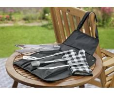 6-tlg. Grillbesteck KENTUCKY aus Edelstahl 18/0 best. aus: je 1 Grill-/Fleischgabel, Wender, Zange Pinsel aus Silikon, Handschuh aus Baumwolle und