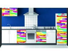 PLAGE 162258 Aufkleber für Küchen und Kühlschrank - Messer und Gabel - Vinyl 180 x 0.1 x 59,5 cm, bunt