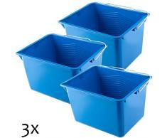KADAX Farbeimer, eckiger Malereimer aus Kunststoff, Eimer mit Griff aus Metall, stabiler Wassereimer mit Gießrand, für Renovierung, Garten, Putzeimer, rechteckig, leicht (8L, 3 Stück, blau)