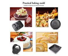 Gesentur Kuchenform Backform Set 4-teilig, Antihaftbeschichtet, Karbonstahl Kuchenform Rund mit Boden abnehmbar, Muffinform, Rund & Quadratische Backform