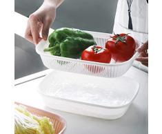 Küche Sieb Sieb Kunststoff Waschschüssel & Siebe Reiswaschmaschine 2 in 1 Küche Sieb/Sieb Schüssel Sets Spülmittel Küchensieb, Nudelsieb, Schüsselset, Stapelbar Salatschüsseln, Gemüse, Pasta (Weiß)