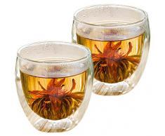 AKTION: 2er-Set 400ml Thermo-Glas mit 2 Teeblumen DOPPELWANDIG ICE-BLOOM XXL extra großes Teeglas / Kaffeeglas mit Schwebeeffekt in Geschenkkartons