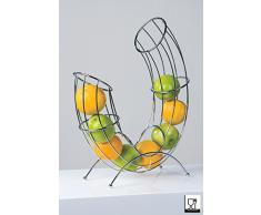 Casablanca Designer Obstkorb Pipe aus Metall verchromt - CASA - 40587