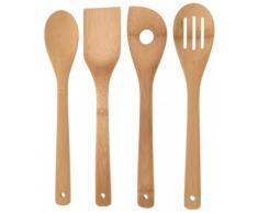 Bambus Küchenhelfer Set 4-tlg. - Kochlöffel - Rührkelle - Lochkelle - Pfannenwender - Kochbesteck - Küchenutensilien - Holzlöffel