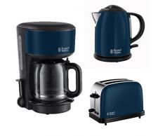 Russell Hobbs Frühstücksset Colours Royal Blue, Glas-Kaffeemaschine, Wasserkocher, Toaster