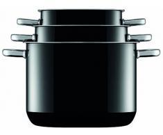 Silit Quadro Black Topfset 4-teilig quadratisch, Töpfe mit Glasdeckel, Silargan Funktionskeramik, stapelbar, Topf Induktion, backofengeeignet, schwarz