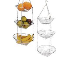 Obstkorb Metall - Hängekorb rund - verchromter Korb für Obst, Früchte und Gemüse