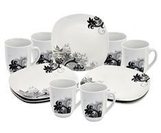 Frühstücksset 12tlg. Black Flower für 6 Personen mit 6 Tellern und 6 Bechern